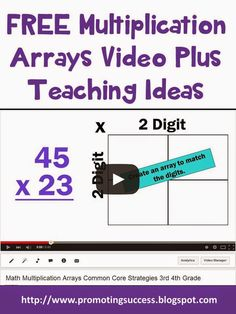 Multiplication Arrays Common Core for 3rd and 4th Grade  - Visit our blog for tons of teaching ideas! #promotingsuccess http://promotingsuccess.blogspot.com/2015/03/multiplication-arrays-common-core-for.html