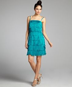 Phoebe Couture Cerulean Silk Organza Fringe Tiered Strapless Flapper Dress