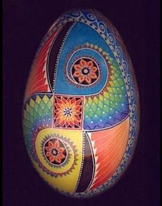 Mark E Malachowski, one of my PUSA retreat colleagues. Colors and swirls and solid areas Ukrainian Easter Eggs, Ukrainian Art, Egg Crafts, Easter Crafts, Easter Art, Egg Shell Art, Carved Eggs, Egg Designs, Faberge Eggs