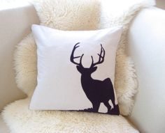 Deer Pillow Cover, Alpine Chic, Stag Antlers, Luxe Lodge, Blackberry Purple Corduroy Applique, Rustic Modern, Winter Woodland Decor 18x18 on Etsy, $75.00