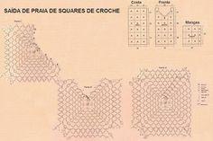 Falando de Crochet - Gráficos: SAIDA DE PRAIA DE CROCHE - SQUARES