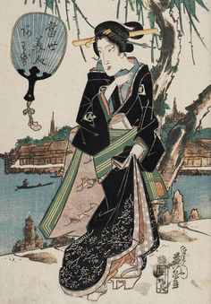 Tosei bijin awase.Ukiyo-e woodblock print, about 1830's, Japan, by artist Keisai Eisen.