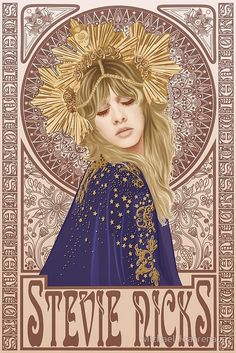 Stevie Nicks illustration by Michael Jeanrenaud mucha art nouveau art deco Psychedelic Art, Rock Poster, Poster Wall, Print Poster, Stevie Nicks Fleetwood Mac, Stevie Nicks Witch, Stevie Nicks Quotes, Stevie Nicks Pictures, Stevie Nicks Lyrics