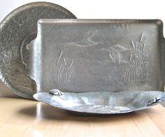 Three Vintage Serving Trays Hammered Aluminum by DairyFarmAntiques, $58.00