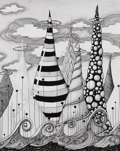 Fantasyscape Black and White India Ink and Colored Pencil Drawing