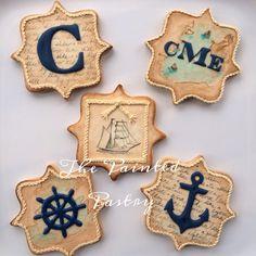 Antiqued Nautical Monogram Cookie Set   Cookie Connection