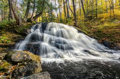 Baraga Falls on the Silver River, Michigan's Upper Peninsula Michigan Waterfalls, Framed Art Prints, Fine Art Prints, Waterfall Photo, State Of Michigan, Upper Peninsula, Canvas Frame, Natural Beauty, Road Trip