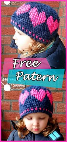 A Hat With Love Free Crochet Pattern – YARN OF CROCHET. Baby Knitting  Patterns Girl ... 6a5a7e455d35