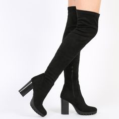 Nina Thigh High Boots in Black Faux Suede | Public Desire