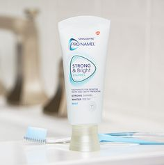 Whiter teeth starts with strong tooth enamel. Learn how Pronamel® Strong and Bright Mint toothpaste can help strengthen enamel, while removing stains for a whiter smile. Healthy Teeth, Healthy Tips, Toothpaste For Sensitive Teeth, Stronger Teeth, How To Prevent Cavities, Tooth Enamel, White Smile, White Teeth, Whitening Kit
