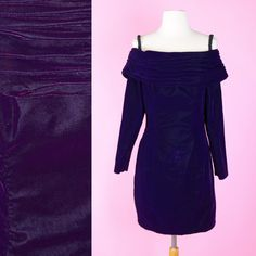 Purple Velvet 80s 90s Prom Dress // 1980s 1990s Vintage Plum Cocktail Party Off The Shoulder Women Size Small by RIPandROSE on Etsy
