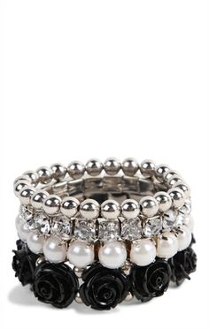 Stretch Bracelet Set with Roses, Stones, and Pearls