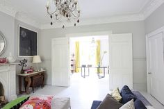 Large Victorian house in East Dulwich Knock through living room with period features and pretty balcony Large, . Edwardian House, Victorian Terrace, Victorian Homes, Living Room Grey, Home Living Room, Living Room Knock Through, Internal Doors, Reception Rooms, Open Plan Living