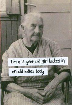 Vintage Photo Magnet 16 year old girl in old ladies body. $3.00, via Etsy.