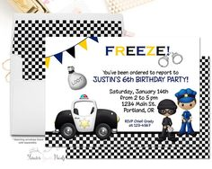 Printable Policeman Invitations Police Car by ForeverYourPrints