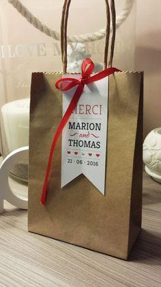 Etiquette MERCI + Sachet kraft mariage • Collection Kraft • NOUVEAUTE