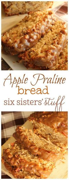 Apple Praline Bread from Six Sisters' Stuff   A delicious moist apple bread with a praline topping that is out of this world!