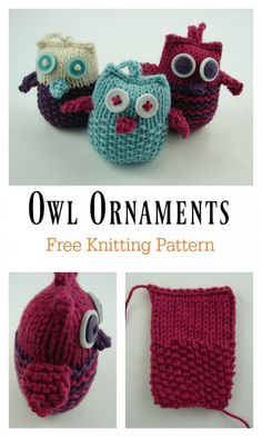 Owl Ornaments Free Knitting Pattern - - This Adorable Puff Owl Free Knitting Pattern is a cute decoration to add to your home. Make some now with the free patterns provided by the links below! Small Knitting Projects, Knitting Blogs, Knitting For Beginners, Easy Knitting, Sock Knitting, Knitting Tutorials, Knitting Machine, Vintage Knitting, Bunny Crochet