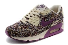 best service fde17 4fd8f Nike Air Max 90 Flowers Sport for women Cream Purple Navy Shoes
