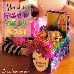 Craftiments:  Mardi Gras shoebox float