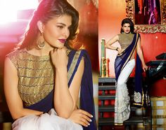 Navy Blue+Off White half Georgette & net saree with Navy Blue dupion Blouse great color combination with Heavy Zari, resham embroidery with Patch butta , stone work and Lace border gives perfect evening party look Net Saree, Georgette Sarees, Indian Princess, Ethnic Design, Jacqueline Fernandez, Half Saree, Party Looks, Beautiful Indian Actress