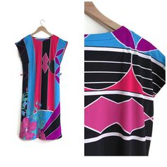 Awesome 80s vintage dress. Cool vintage style. Colourful retro shift dress. £28. See it on our vintage website. www.superqueenieretro.com