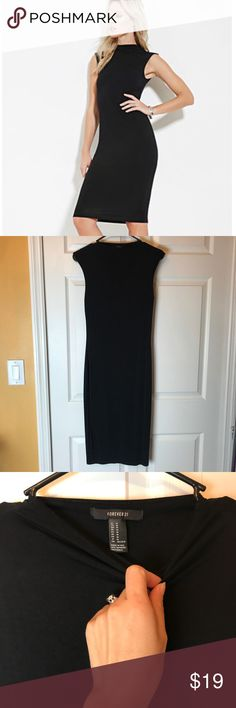 Mock High Neck Cap Sleeve Body-con Dress LBD M/6 Worn and Dry Cleaned Only Once! Mock High Neck, Cap Sleeves, Fully Lined in a Soft/Stretchy/Tight Midi Dress! No Slits, Has Minor Marks That Need To Be Wiped Off From Trying On, Other Than That, Like New! Dress it Up With My Fringe Black Belt Also Sold In My Poshmark Store! Perfect LBD! Forever 21 Dresses Midi
