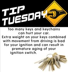 Car Care Tip: The extra weight of too many keys and keychains can hurt your car. Auto Repair at Automotive Service Garage of Sarasota, FL http://www.srqautorepair.com/