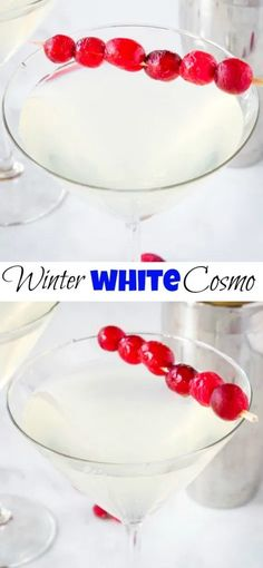 Winter White Cosmo - A Fun Seasonal Twist On The Classic Cosmopolitan Cocktail. Fruity, Tart, Slightly Sweet And Delicious. Incredible For Your Holiday Parties Winter Cocktails, Holiday Drinks, Fun Cocktails, Holiday Parties, Holiday Recipes, Christmas Recipes, Christmas Drinks, Winter Recipes, Holiday Ideas