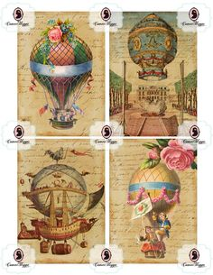 VINTAGE BALLOONS ACEO Digital Collage Sheet Printable Victorian Vintage Roses Birds Greeting cards Scrapbooking Paper Good.