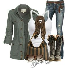 green jacket, white tank, jeans, brown combat boots, brown scarf