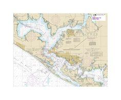 Inter-Coastal Waterway East Bay To West Bay Nautical Chart Vinyl Print