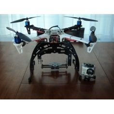 FPV Twin Axis GoPro Camera Mount with Extended Landing Gear for DJI F450/F550 Flamewheel. Gyro Stabilised Roll & Tilt.