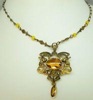 Victorian Art Nouveau Gold Necklace Pendant Citrine glass Lavaliere Czech