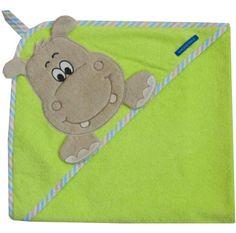 Kaputzentuch mit süßer Nilpferd-Stickerei auf der Kapuze - Geschenk fürs Baby - Hippo