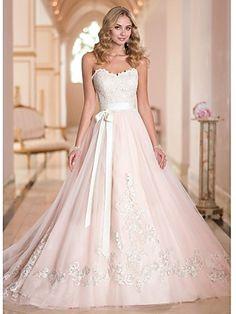 Hochzeitskleid A-Linie Herz-Ausschnitt Hof-Schleier (Tüll) | LightInTheBox
