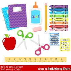 School Supplies Clipart Back to School by HuckleberryHearts