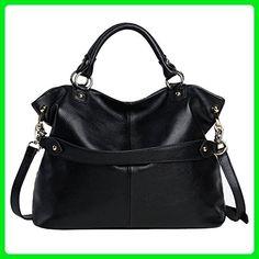 e7b777fc85 Kattee Women s Soft Genuine Leather 3-Way Satchel Tote Handbag Black -  Shoulder bags (