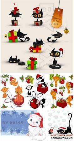 Красивые рождественские кошки и коты в шапочках Санты в векторе