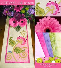 Love the style of the flowers and leaves on this Caterpillar - table runner pattern