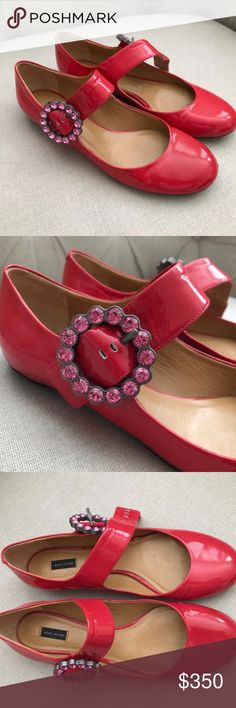 WE SALE! Marc Jacobs Red Shoes Swarovski Buckles Marc Jacobs Red Shoes with Swarovski Buckles - Excellent condition - Gorgeous Marc Jacobs Shoes Flats & Loafers