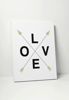 LOVE Crossed Arrows - on canvas