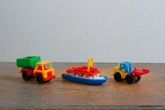 Vintage Miniature Plastic Toys, Made in West Germany - Dump Truck, Paddle Boat, Bulldozer