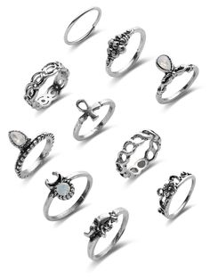 Shop Mixed Gemstone Etched Ring Pack online. SheIn offers Mixed Gemstone Etched Ring Pack & more to fit your fashionable needs.