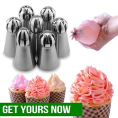 Want to decorate your own birthday cake or learn how to create a colorful and decorative pastry? With this Cake Decor Piping Tips, it will take you only one step to make beautiful flowers! Fondant Cupcakes, Fake Cupcakes, Cupcake Frosting, Cake Decorating Tools, Cake Decorating Techniques, Cake Nozzles, Margarita Bebidas, Icing Tips, Frosting Tips