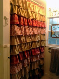Rustic Ruffled Shower Curtain - Beautiful....LOVE THIS