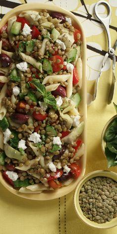 Mediterranean Lentil Pasta Salad Penne Pasta, Pasta Salad, Cooking Green Lentils, Healthy Salads, Healthy Recipes, Lentil Pasta, Summer Side Dishes, Life Journal, Mediterranean Recipes