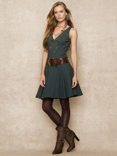 V-Neck Dress - Mid Length Dresses Dresses - Ralph Lauren UK