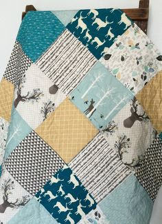 Baby Boy Quilt Fawn Bow and Arrow Birch Trees Deer by CoolSpool