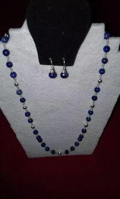 447549de8189 Collar De Lapislazuli Con Engarces De Plata 925